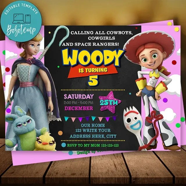 editable toy story birthday invitation for girl instant download