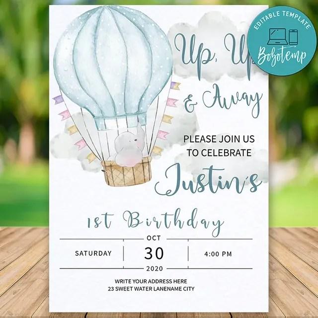printable hot air balloon boy first birthday invitation diy