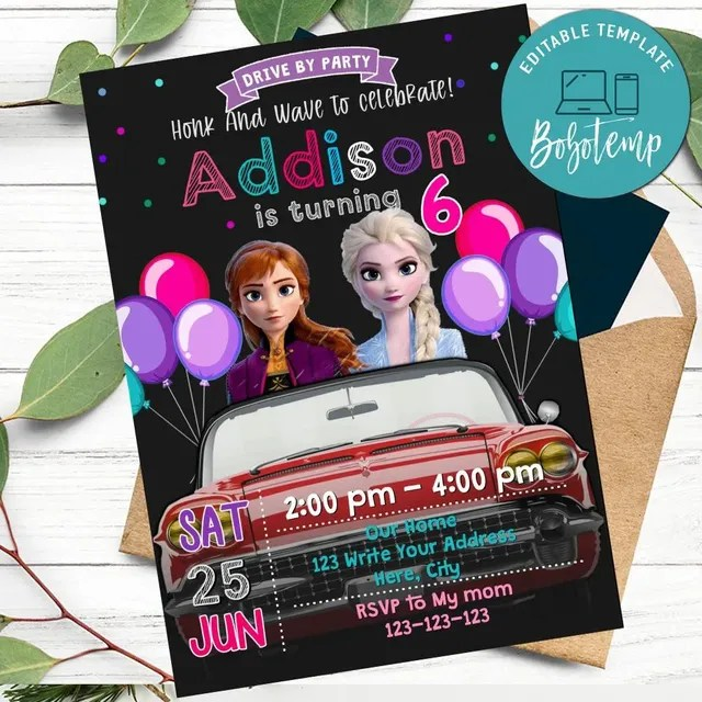 frozen drive by birthday parade invitation printable diy