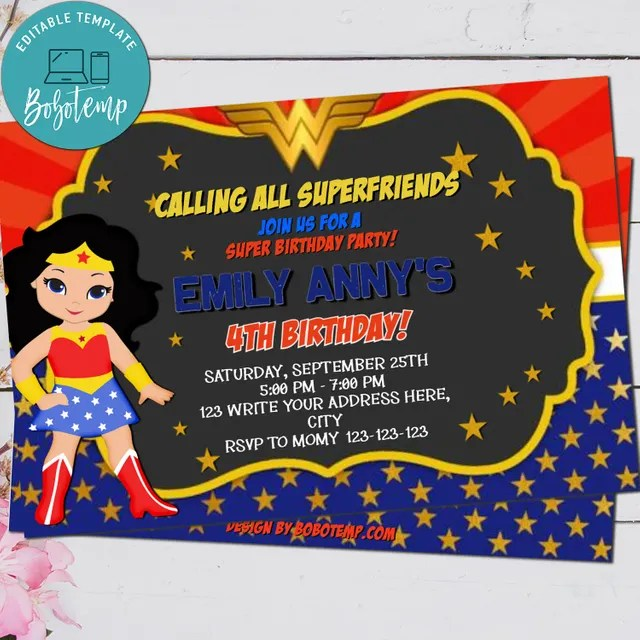 editable wonder woman cartoon party invitation instant download