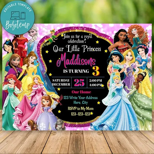 editable disney princess invitation digital file