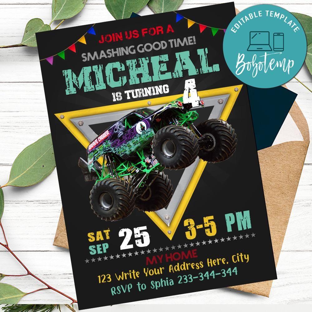 printable grave digger monster truck birthday invitation diy