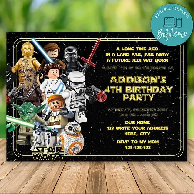 editable lego star wars birthday invitation instant download