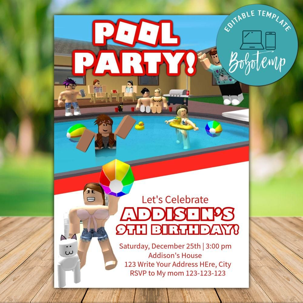 printable roblox pool party invitation instant download