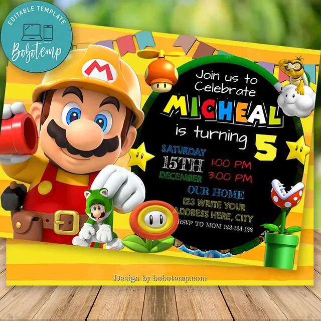 editable mario maker birthday invitation and free thank you card