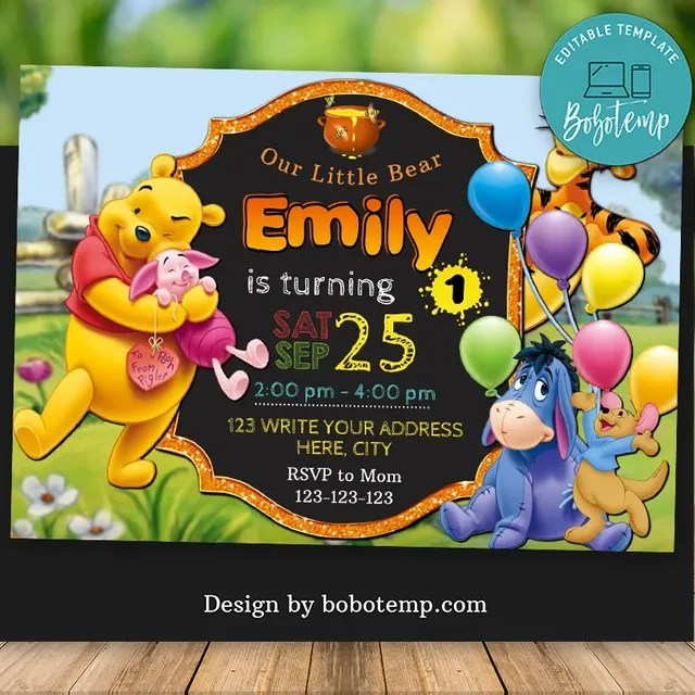 editable winnie the pooh for 1st birthday invitation diy