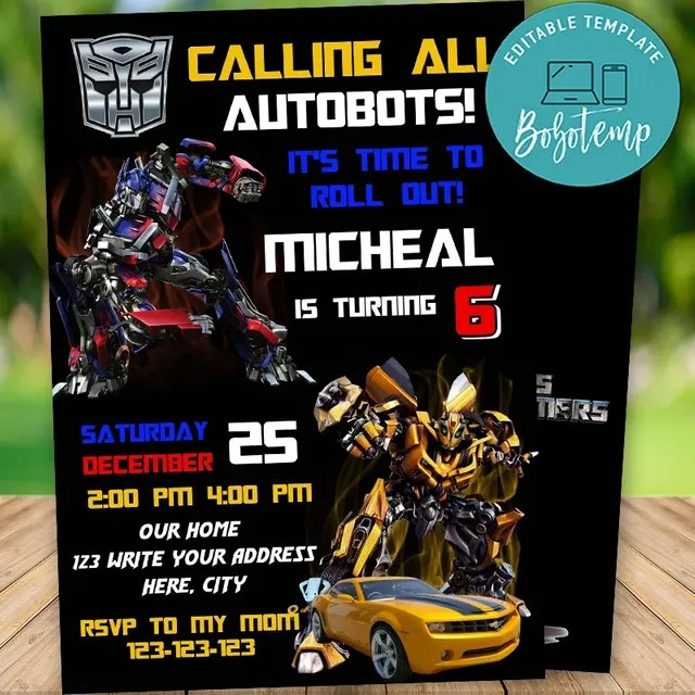 editable calling all autobots transformers birthday invitation