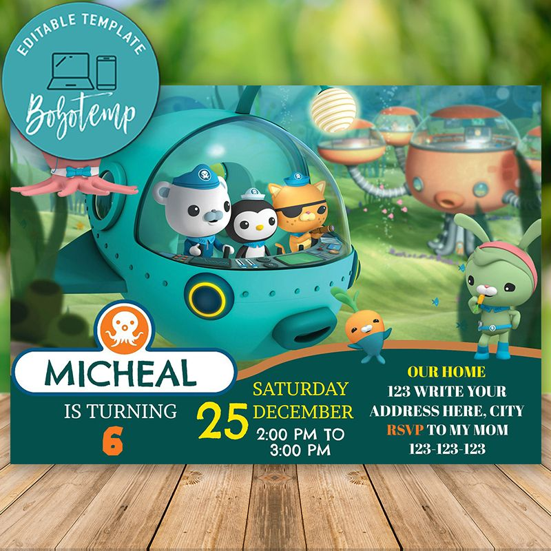 editable octonauts birthday invitation instant download