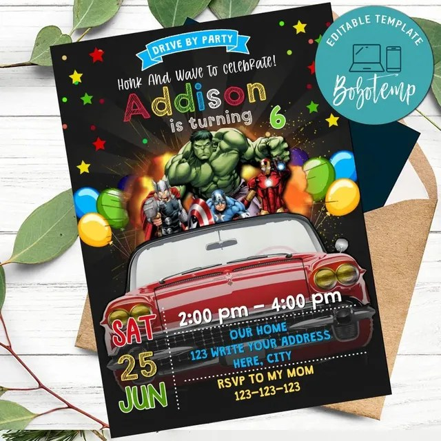 superhero avengers drive by birthday parade invitation diy