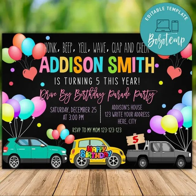 printable car parade virtual birthday party invitation template