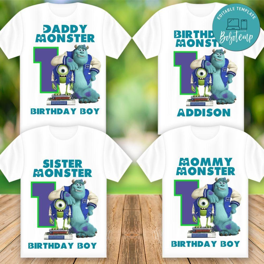 printable monster inc birthday shirt for family templates