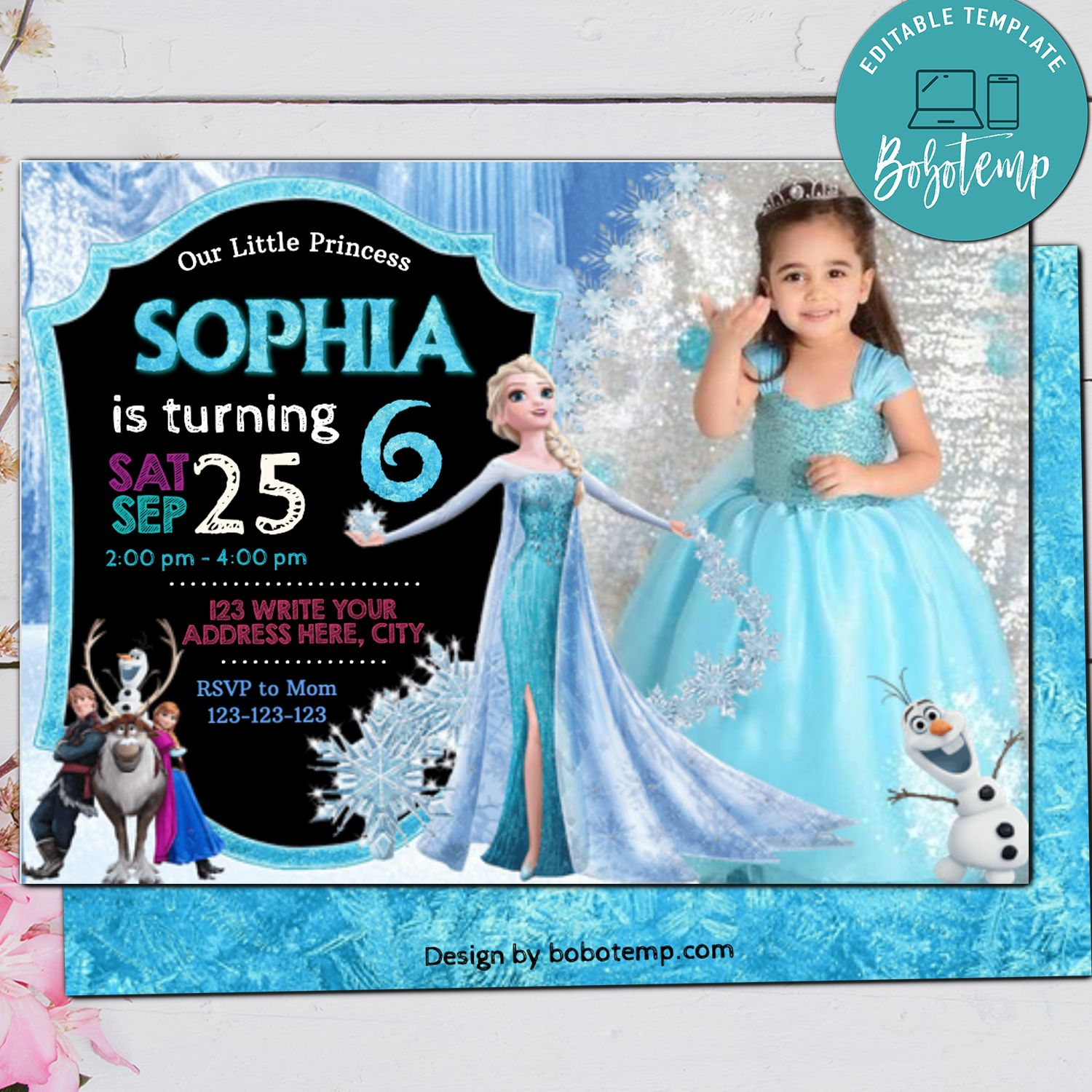 editable frozen elsa with photo any age snow snowflake ice birthday invitation instant download