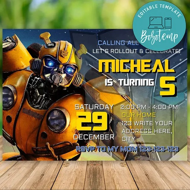 editable transformers bumblebee birthday invitations diy