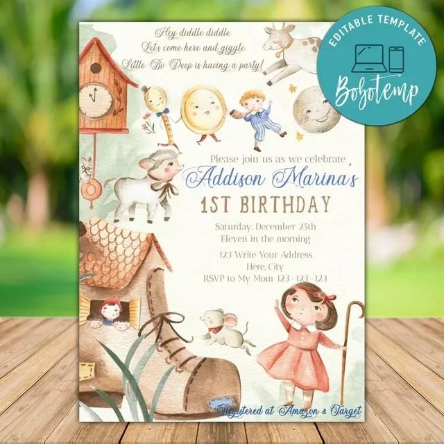 printable nursery rhymes birthday invitation template diy