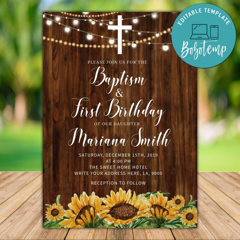 printable sunflower baptism and first birthday invitations instant download