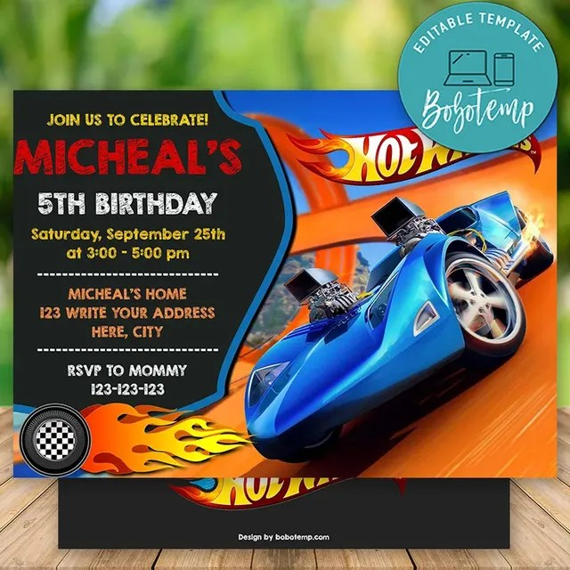 editable hot wheels birthday invitations instant download