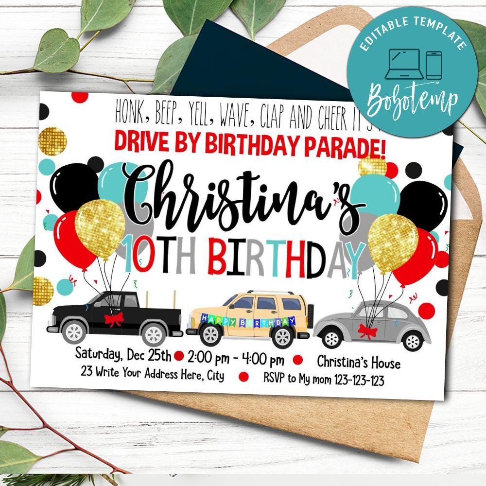printable drive by birthday parade invite template diy