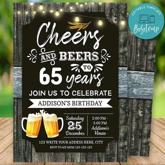 printable 65th cheers and beers birthday party invitation diy