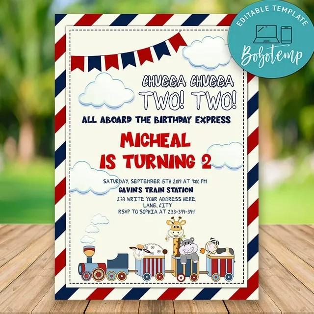 editable train birthday invitations instant download