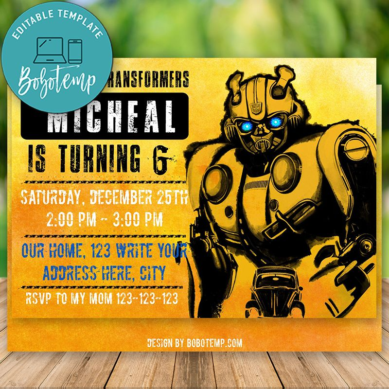 editable bumblebee invitation transformers invitation diy