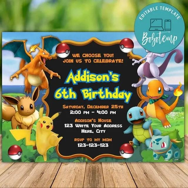 printable pokemon birthday invitation templates instant download