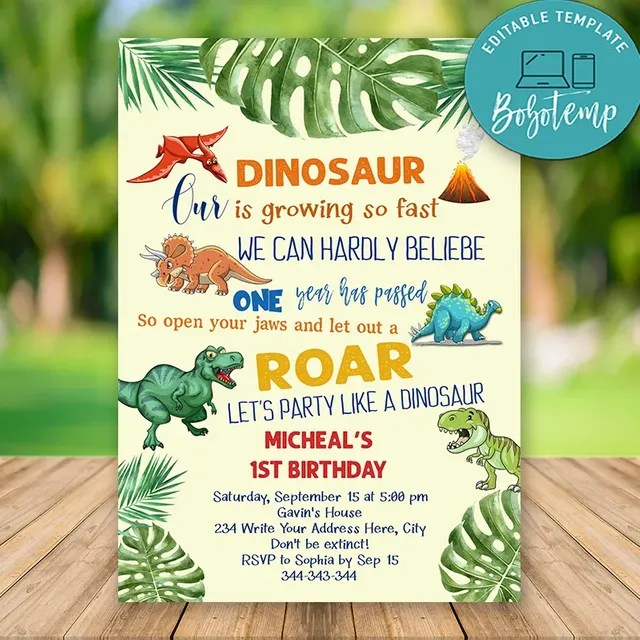 So many brand new enjoyable invitations that'll have your kid glowing! Editable Dinosaur First Birthday Invitations Instant Dowload Bobotemp