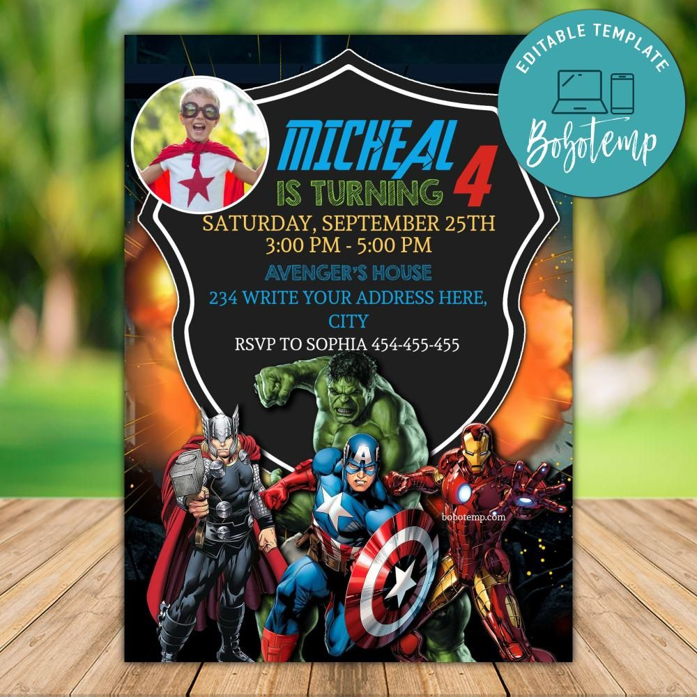 printable superhero avengers birthday invitation with photo diy