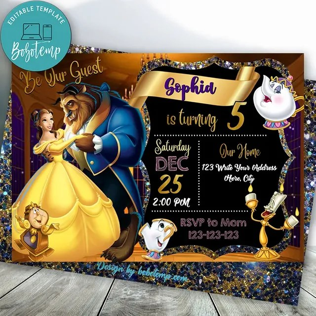 editable beauty and beast birthday invitation instant download