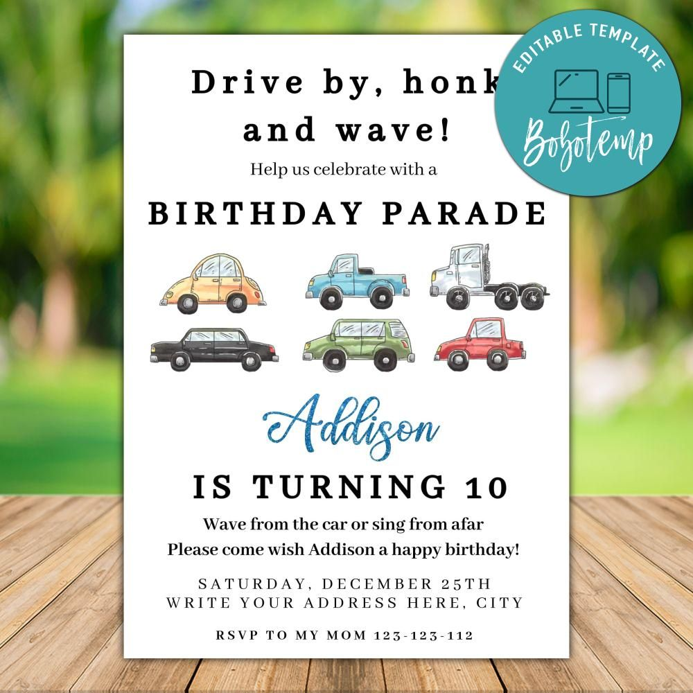 printable car parade birthday invitation instant download