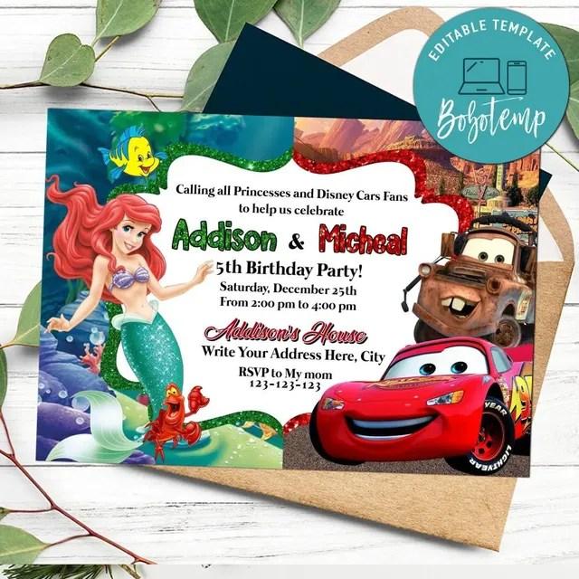 printable little mermaid and disney car joint birthday invitation