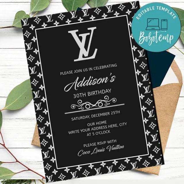 louis vuiton birthday invitation template for girl printable diy