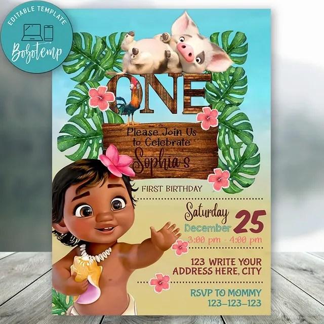 editable disney princess moana first birthday invitation diy
