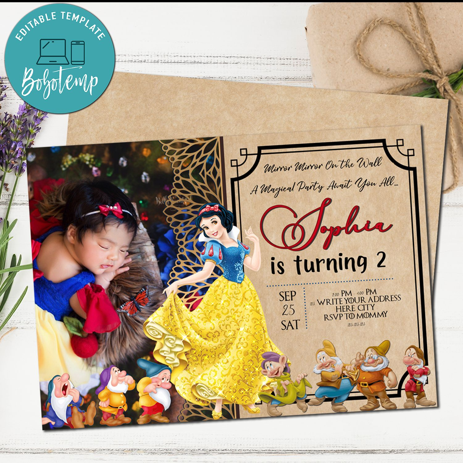 snow white birthday invitation snow white party with photo