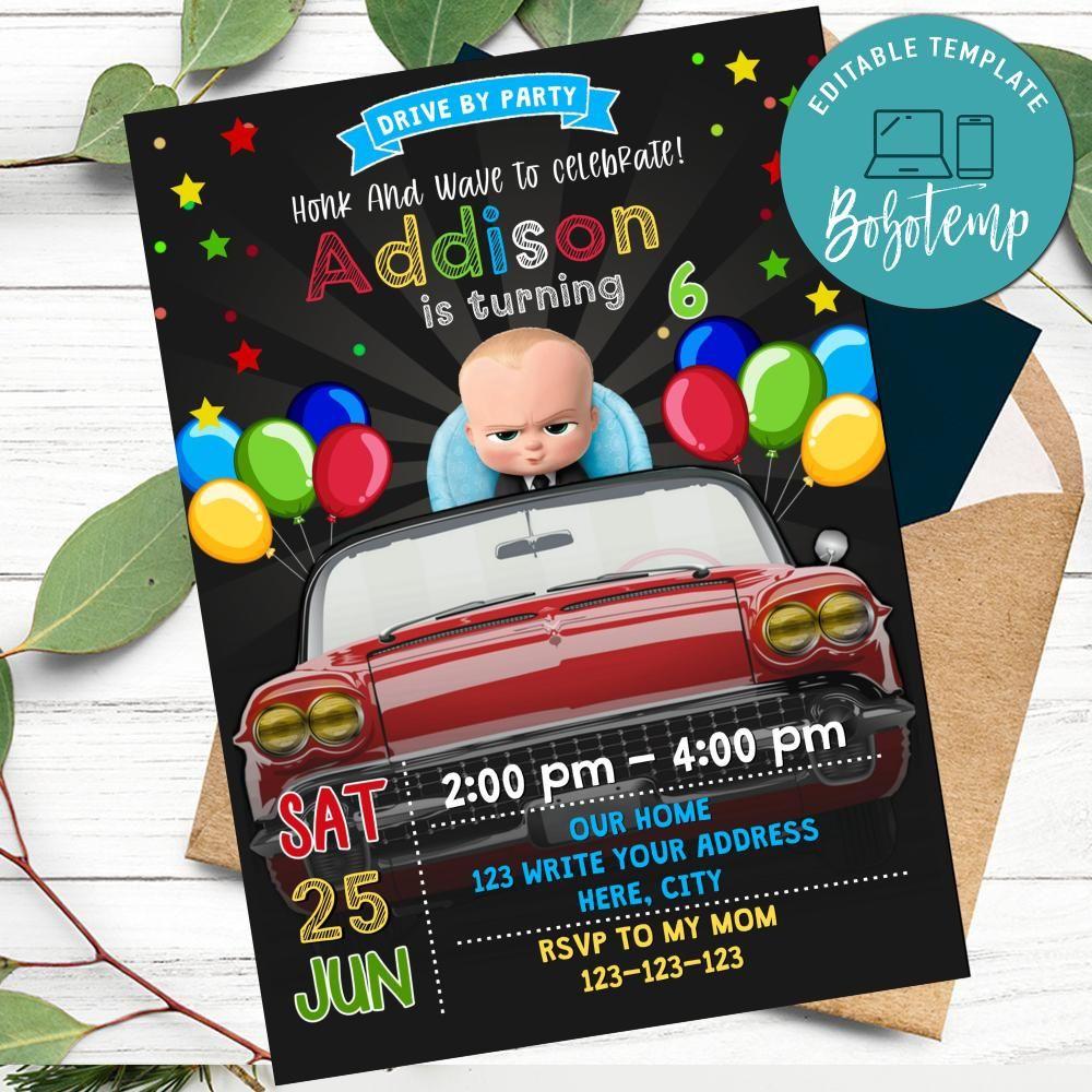 boss baby drive by birthday parade invitation diy