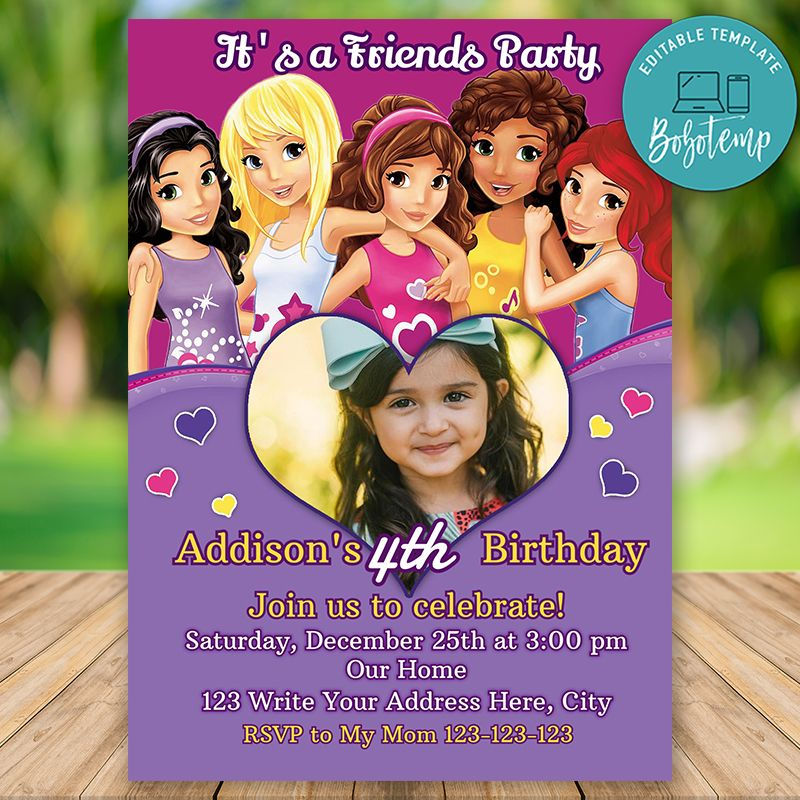editable lego friends birthday invitation instant download