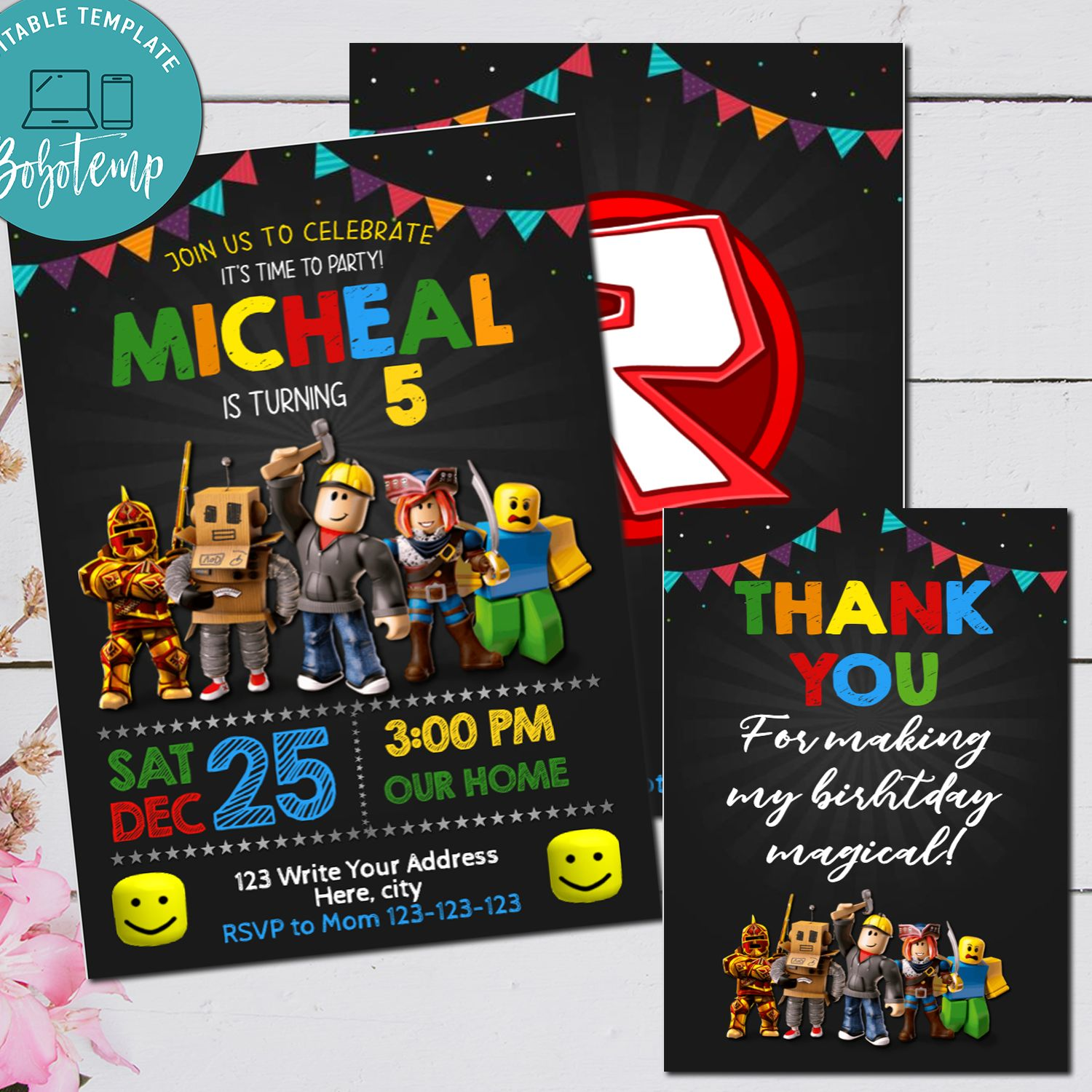 editable roblox game birthday invitation digital file