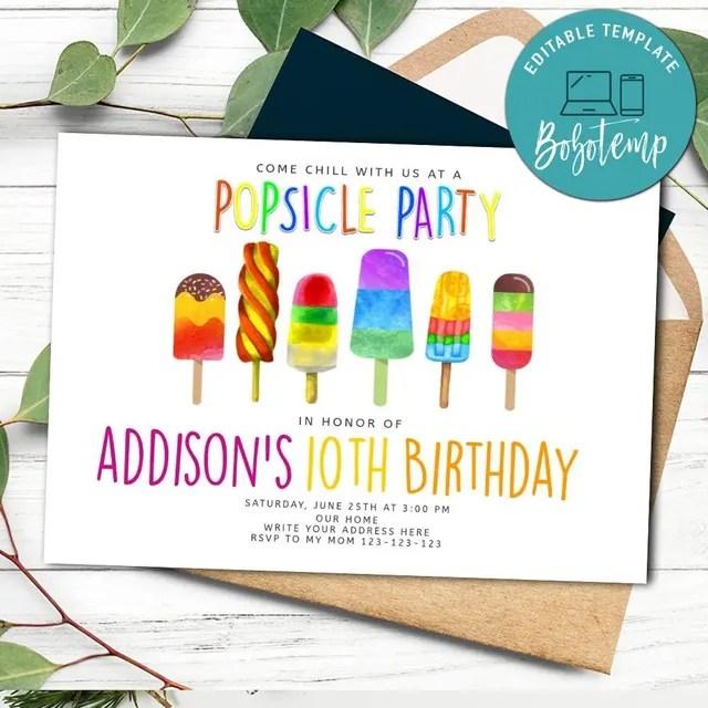 popsicle birthday invitation printable instant download
