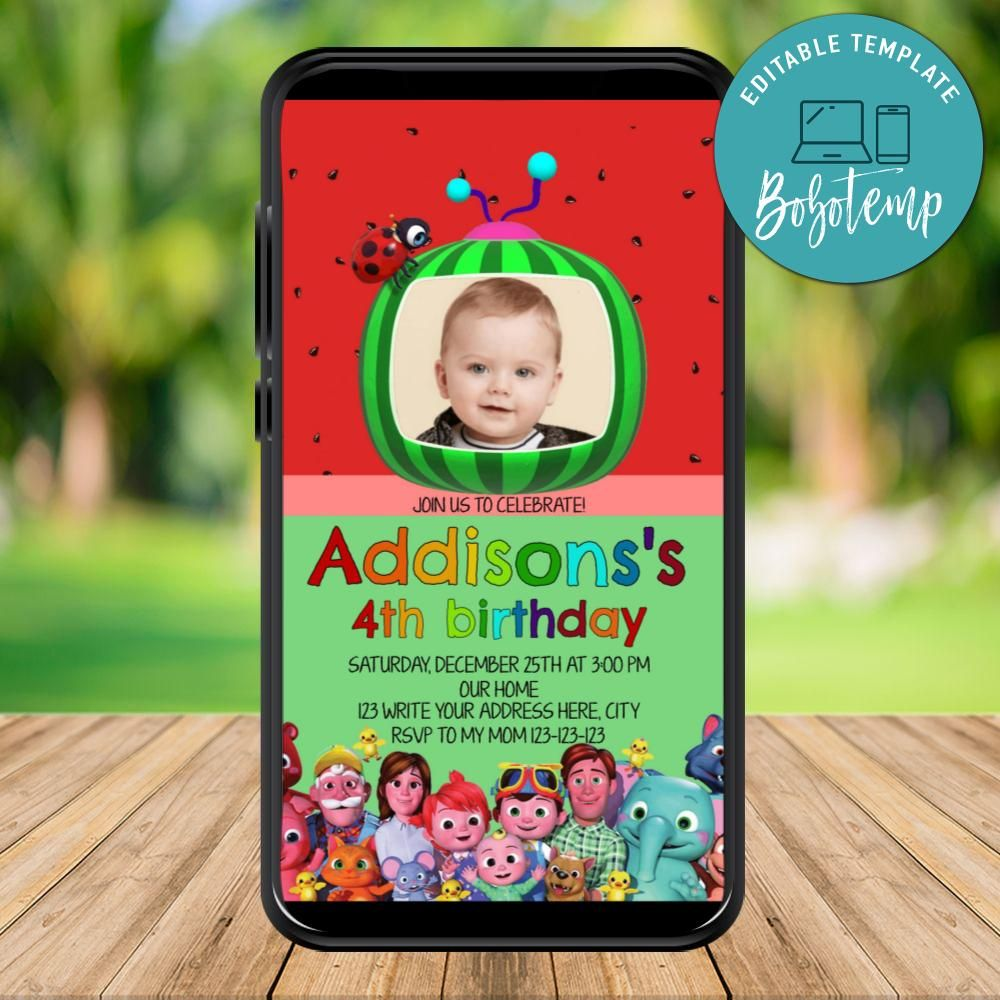 mobile cocomelon birthday electronic invite invitation instant download