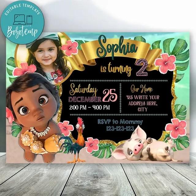editable disney princess baby moana with photo birthday party diy
