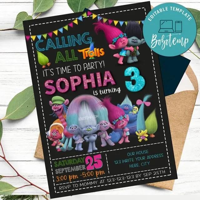 trolls birthday invitation and thank you card printable