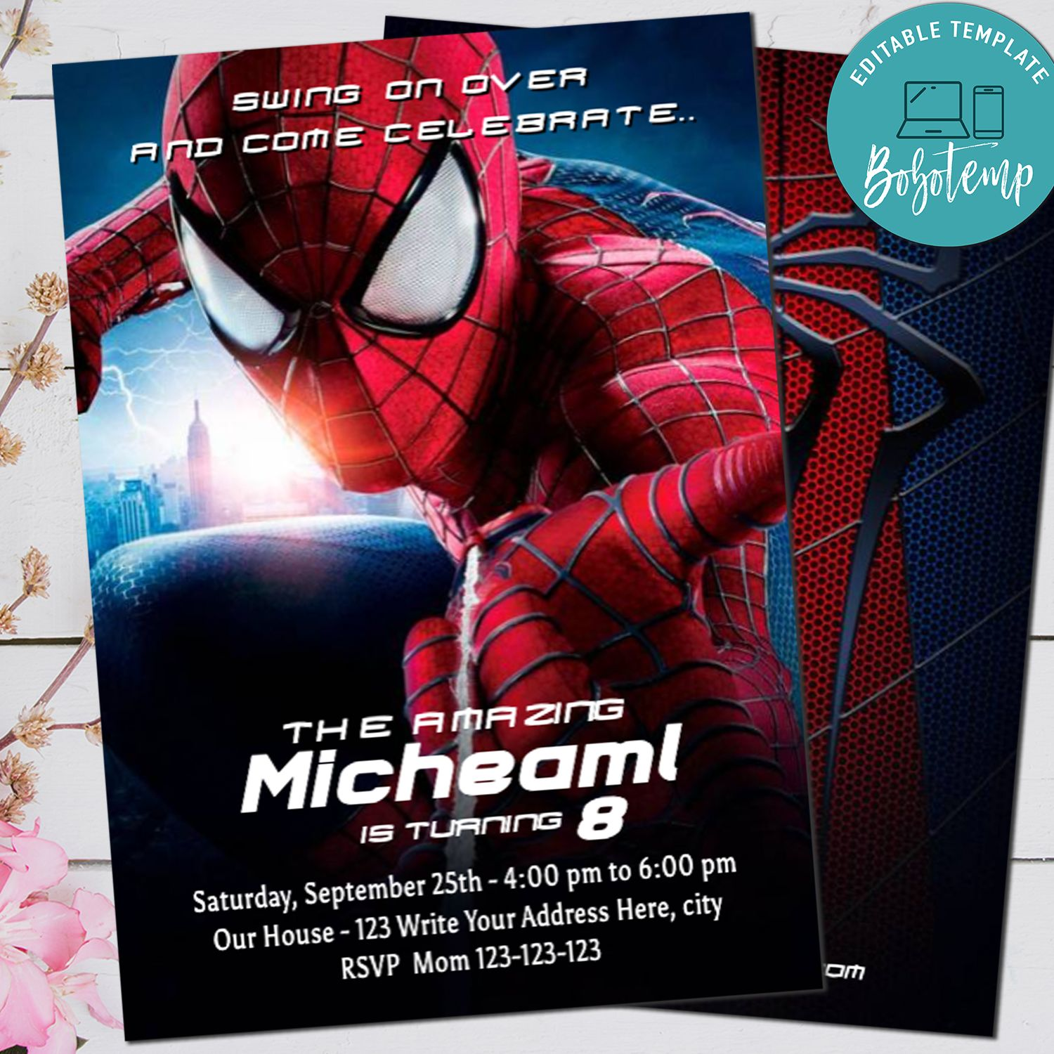 spiderman invitation spiderman superhero invite editable