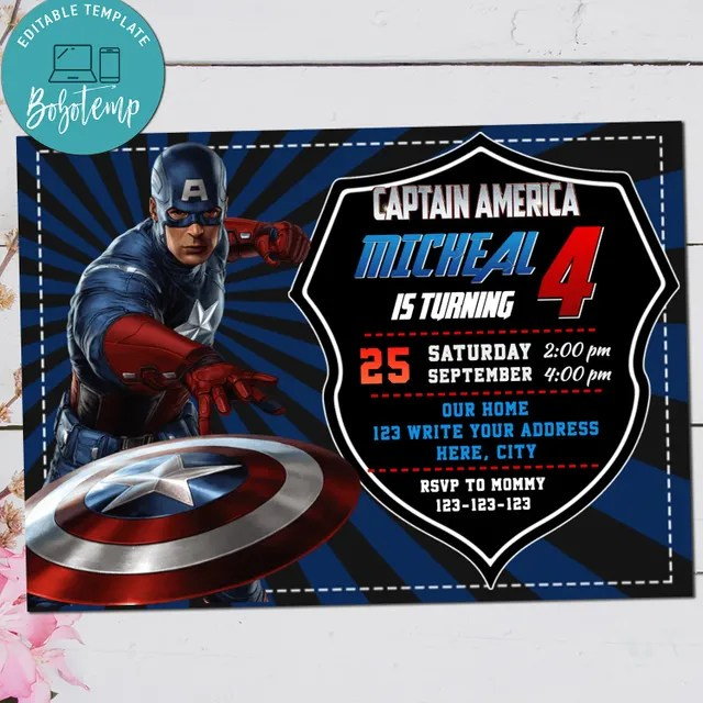captain america avenger birthday digital invitation printable