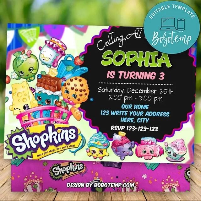 editable shopkins birthday invitation digital file