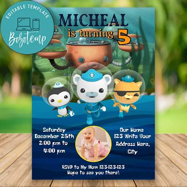 editable octonauts party invitation with photo instant download