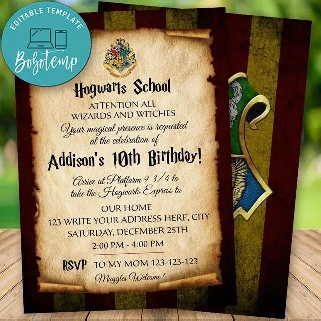 editable harry potter wizard birthday invitation instant download