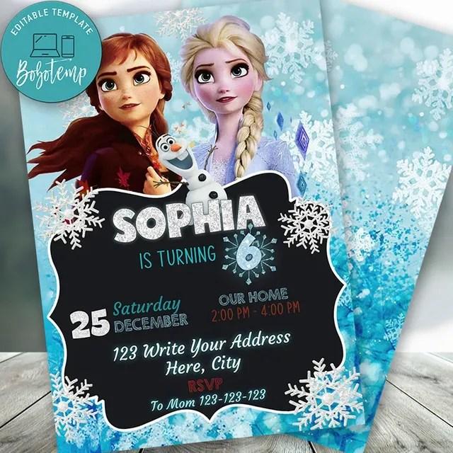 editable frozen 2 birthday invitation instant download