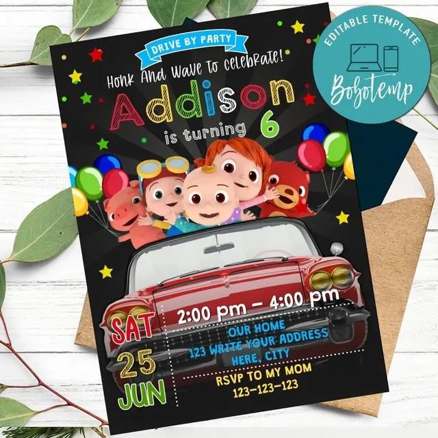 cocomelon drive by birthday parade invitation diy