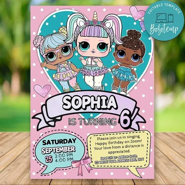 printable lol surprise doll virtual party invitation template diy bobotemp