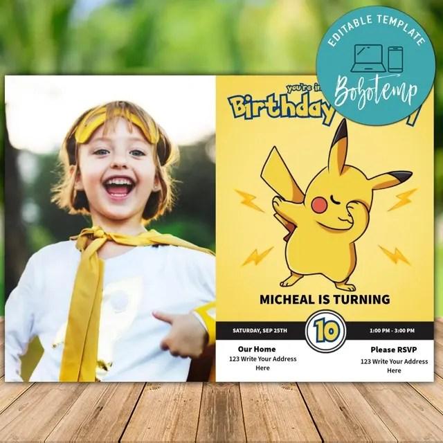 printable pokemon pikachu birthday invitation with photo diy