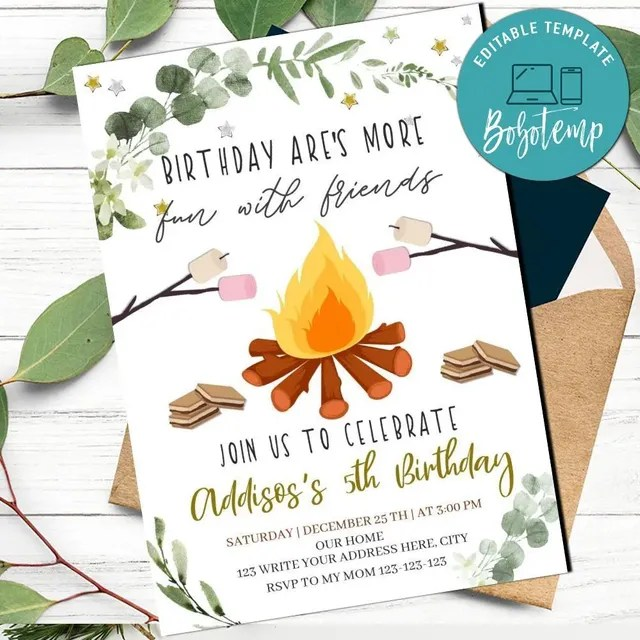 printable camping birthday party invitation template diy